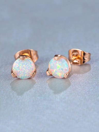 2018 2018 Rose Gold Plated Round stud Earring