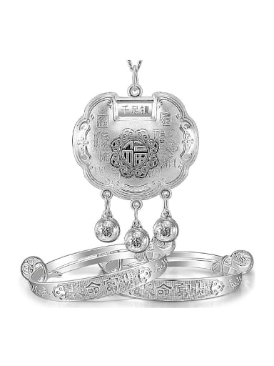 Ethnic style Chinese Characters 999 Silver Children Two Pieces Jewelry Set