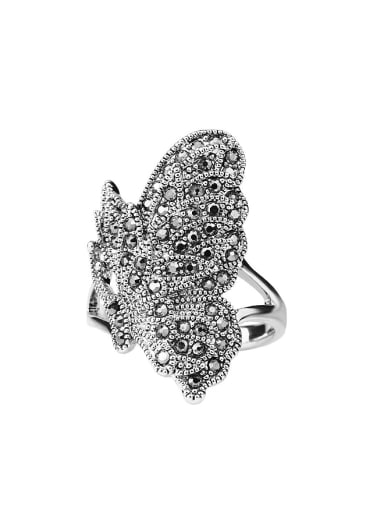 Personalized Exaggerated Butterfly Grey Crystals Alloy Ring