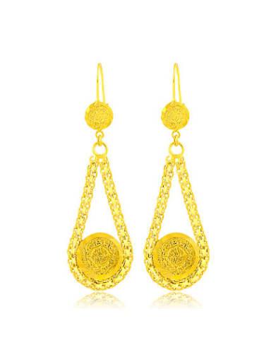 High Quality 24K Gold Water Drop Shaped Drop Earrings