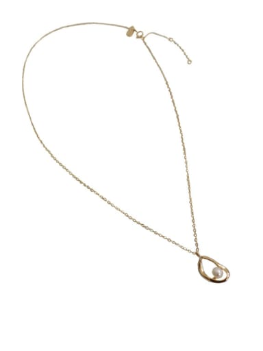 Simple White Freshwater Pearl Smooth Silver Necklace