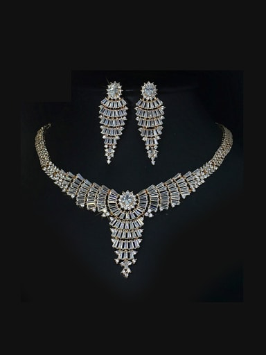 Fashionable Zircon Necklace earring Jewelry Set