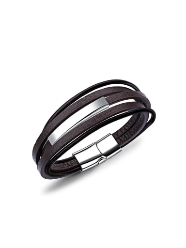 Simple Multi-band Titanium Artificial Leather Bracelet