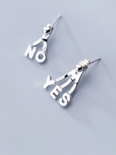 925 Sterling Silver With Platinum Plated Cute Monogrammed Rear-mounted Earrings