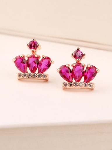 Ruby Crown 925 Sterling Silver Rose Gold Anti allergy stud Earring