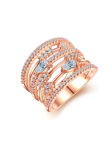 Luxurious personality multi ring micro mosaic AAA zircon ring