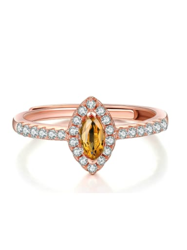 Simple Style Women Opening Ring with Yellow Crystal Zircon