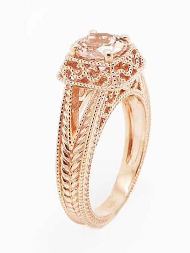 Copper With Cubic Zirconia Delicate Square Band Rings