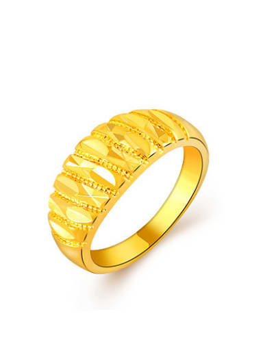 Fashionable 24K Gold Plated Geometric Design Copper Ring