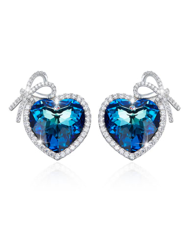 Blue Heart-shaped stud Earring