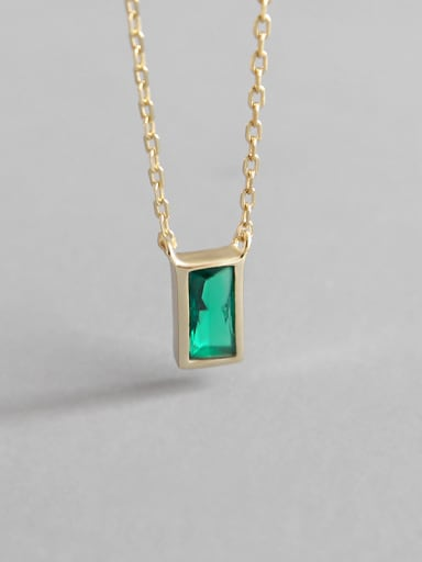 Sterling Silver Compact Mini geometric square Zircon Necklace