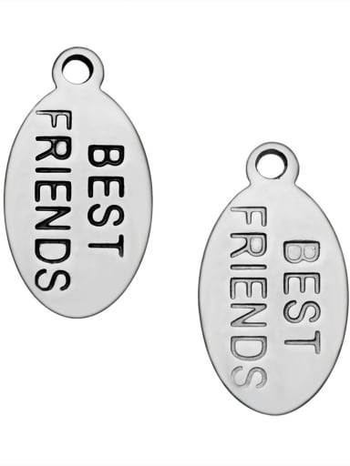 Stainless Steel With Simplistic Oval with best friends words Charms
