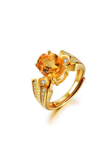 Gold Plated Citrine Gemstone Statement Ring