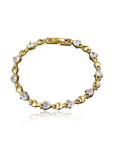 Fashion 18K Gold Plated Heart Shaped Zircon Bracelet