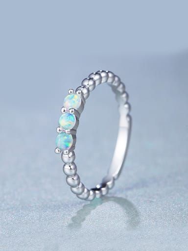 Platinum Plated Opal Stone Multistone ring