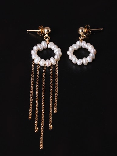 Handmade Freshwater Pearls Tassel Drop Earrings