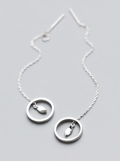Korean Style Round Shaped S925 Silver Line Earrings
