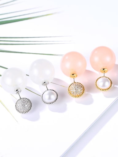 Copper With Gold Plated Simplistic Ball Stud Earrings