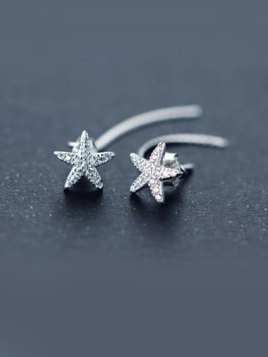 S925 Silver Sweet  zircon Star Stud threader earring