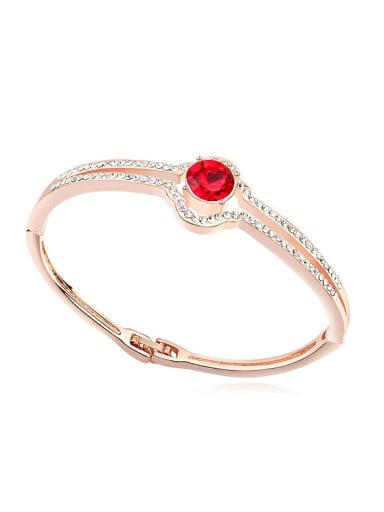 Fashion Cubic Swarovski Crystals Rose Gold Plated Alloy Bangle