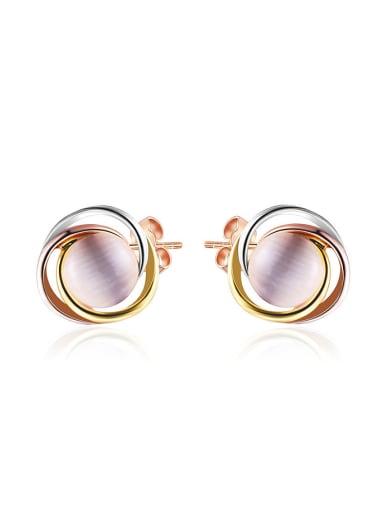 Women Multi-color Gold Opal Stone Earrings