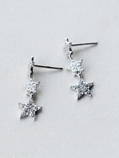 Women Shimmering Star Shaped Zircon S925 Silver Drop Earrings