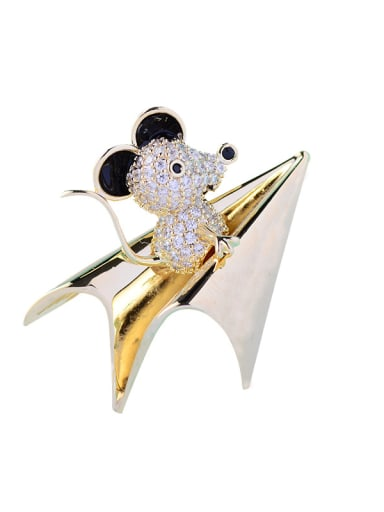 Copper With Cubic Zirconia Cute Animal mouse Brooches
