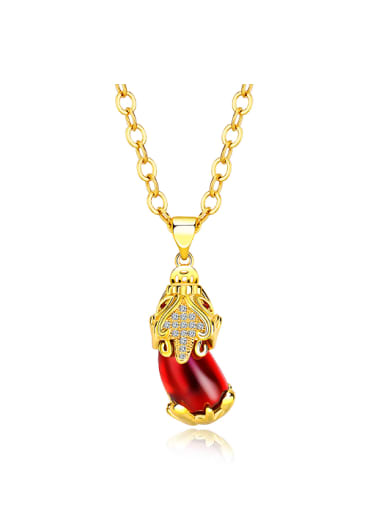 Fashion 24K Gold Plated Ruby Stone Necklace