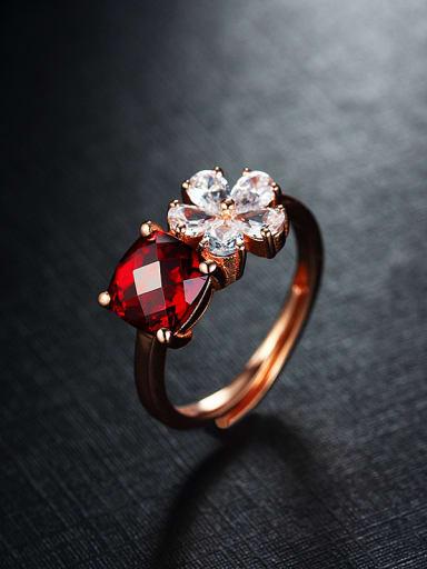 Fashion Rose Gold Plated Gemstones Multistone ring