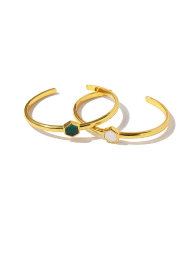 Copper With Gold Plated Personality Geometric Free Size Bangles