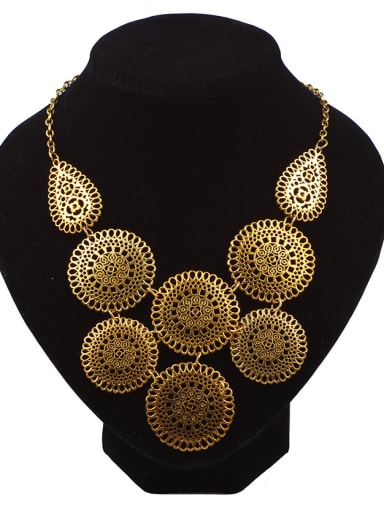 Exaggerated Hollow Round Flowery Antique Copper Plated Alloy Necklace