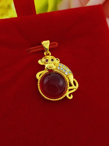 All-match Red Stone Animal Shaped Pendant