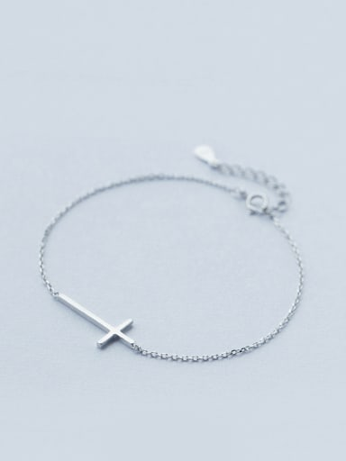 S925 Silver Character Glossy Cross Simple Bracelet