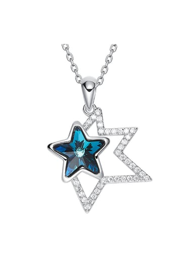 Fashion Shiny Swarovski Crystal Stars Pendant Copper Necklace