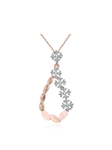 Double Color Design Flower Vine Shaped Opal Necklace