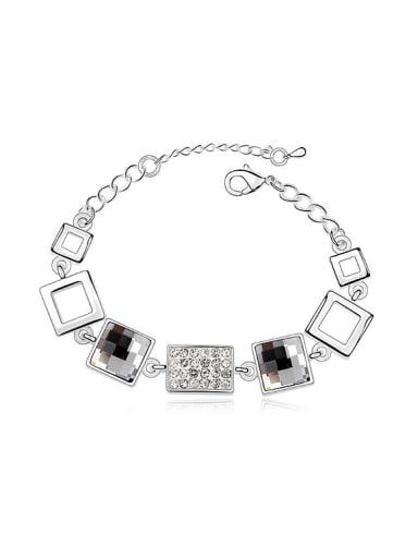 Simple Square Swarovski Crystals Alloy Bracelet