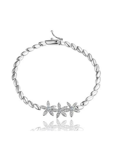 Creative 18K Platinum Plated Flower Shaped Zircon Necklace