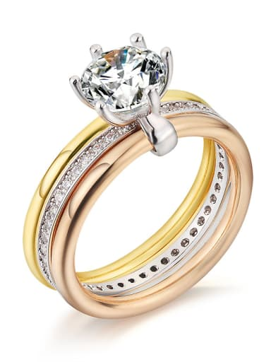 Trendy AAA zircon three ring simulation diamond ring