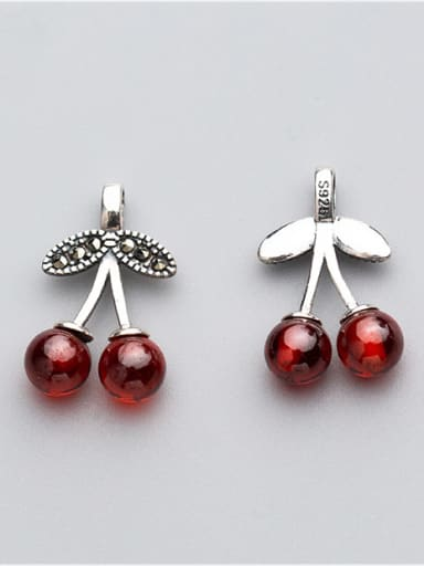 925 Sterling Silver With Antique Silver Plated Cute Cherry Charms