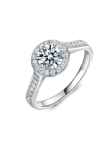 Platinum Plated Zircon Engagement Ring