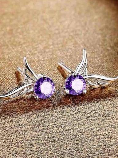 Fashion Tiny Cubic Purple Zircon Angel Wings Stud Earrings
