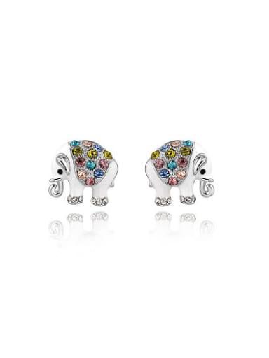 Lovely Colorful Zircon Elephant Shaped Stud Earrings