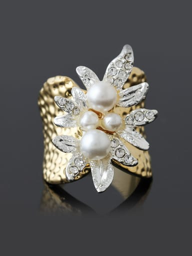 Retro style Artificial Pearls Gold Plated Rough Alloy Ring