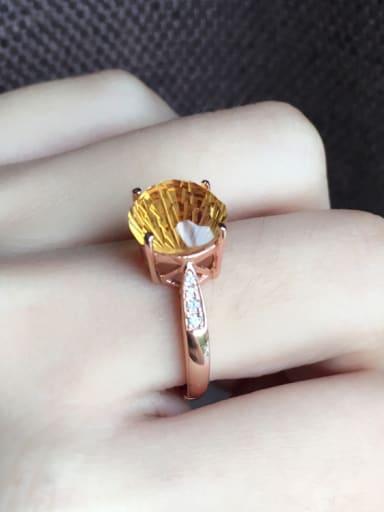 Fashion Rose Gold Plated Citrine Gemstone Engagement Ring