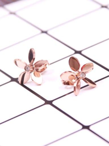 Titanium Flower Rhinestones Stud Earrings
