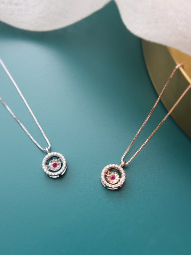 Sterling silver micro-set AAA Zricon red zircon smart necklace