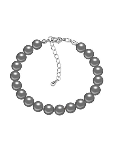 Simple Imitation Pearls Platinum Plated Alloy Charm Bracelet