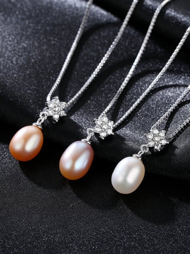 Pure silver with AAA zircon flowers natural freshwater pearl necklace