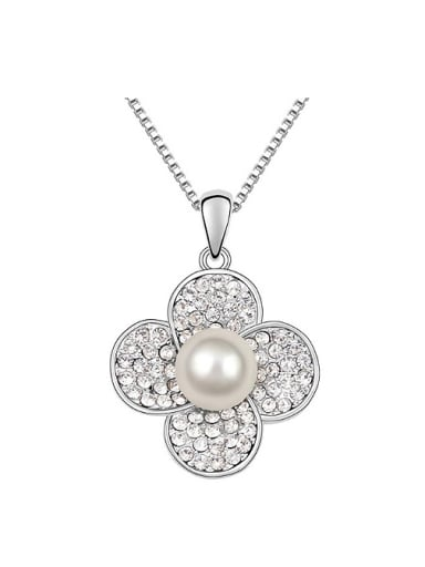 Simple Tiny White Crystals-covered Flower Imitation Pearl Alloy Necklace