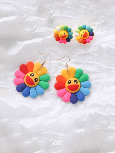 Alloy With Rose Gold Plated Colored flowers Cute Smiley Face  Stud Earrings